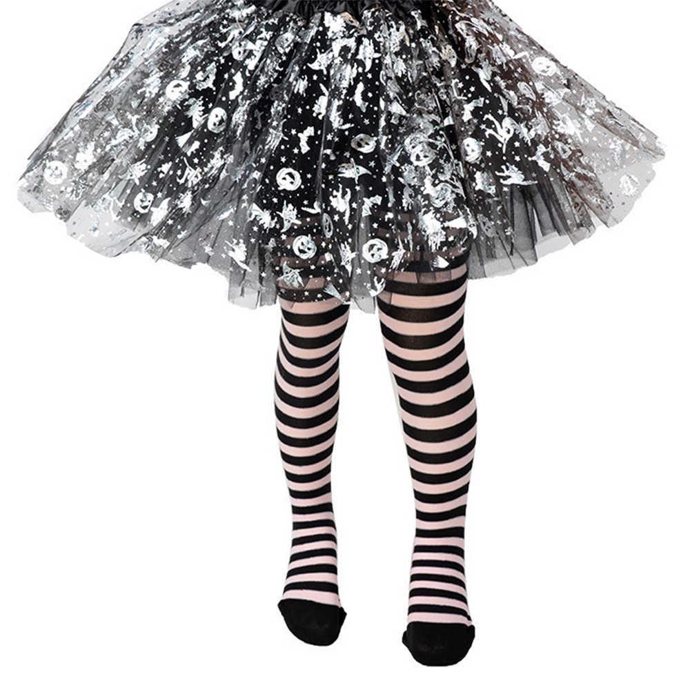 6-8 Jaar Meisjes Cosplay Voorraden Kids Gestreepte Panty Voor Meisjes Halloween Party Meisjes Prestaties Kostuum Kousen D40