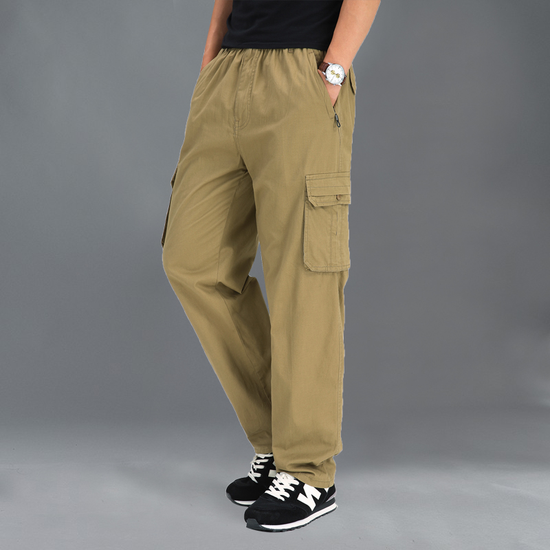 M-6XL Cargo Pants Men Pocket Thin Elasticity Pants Full Length Pants Male Straight Trousers Homme Loose Cotton Casual Pant Black