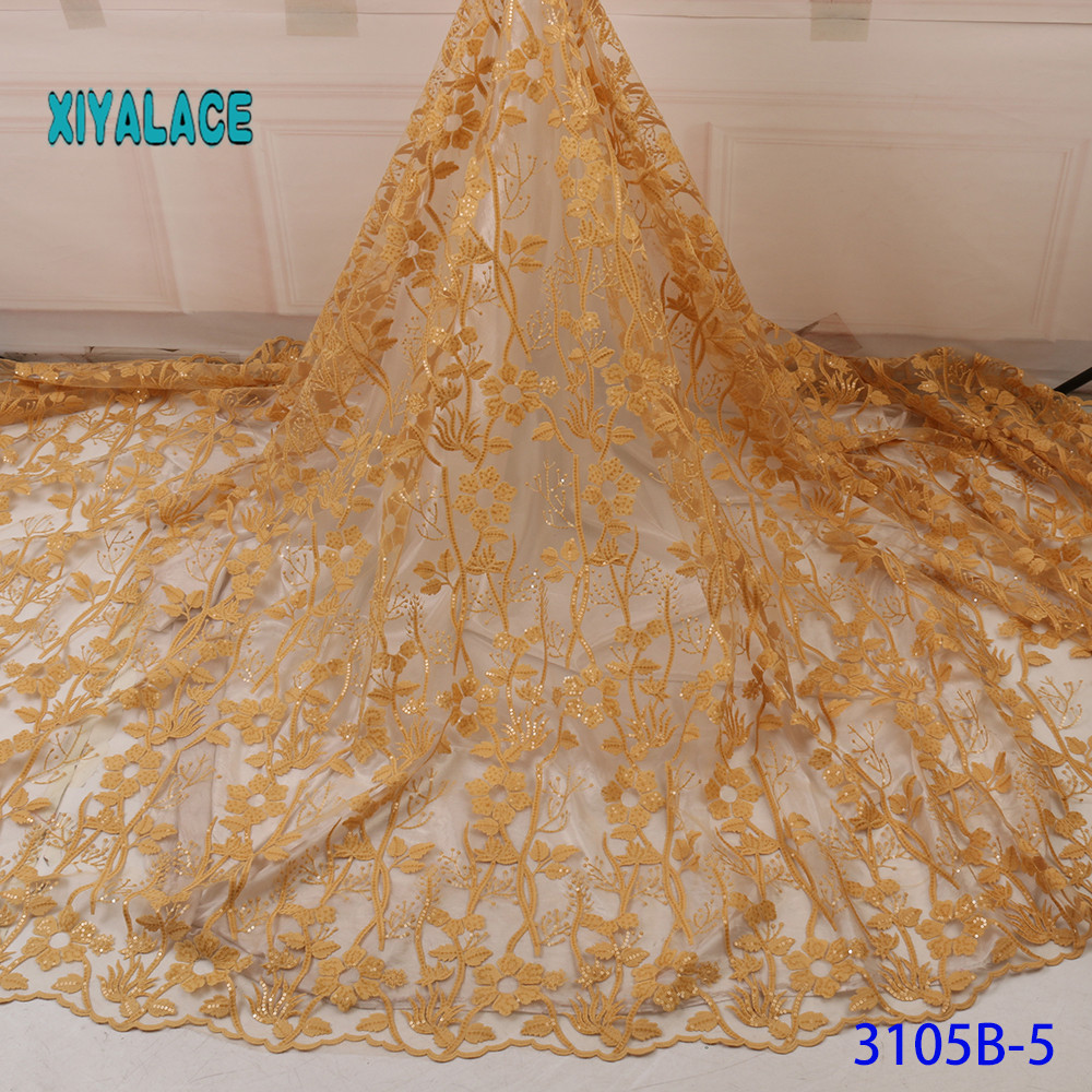 French Sequins Lace Fabric Women Wedding Dress African Lace Fabric 2019 High Quality Lace African Tulle Lace Fabric YA3105B-5