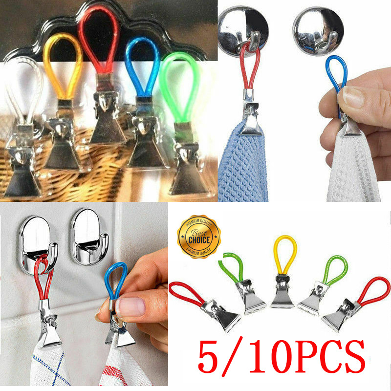 10pc Tea Towel Hanging Clips Metal Clip on Hooks Loops Hand Towel Hangers Hanging Clothes Pegs Clips for Kitchen Bathroom Beach(China)