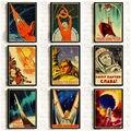 Винтажный российский пропагандистский постер The Space Race, ретро постеры СССР и принты, холст, бумага, настенное искусство, декор для домашней к...