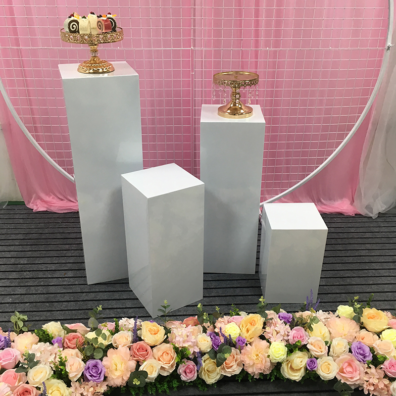 Wedding Backdrop White Iron Square Circle Pillars Dessert Table Birthday Party Cake Flower Stand Home Decoration Accessories
