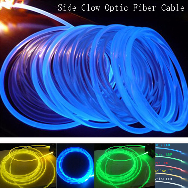 2mm 5m16Ft LED Lighting Side Glow Optic Fiber Cable Waterproof For Car Home Bar For Car Night Lights & Home Decoration