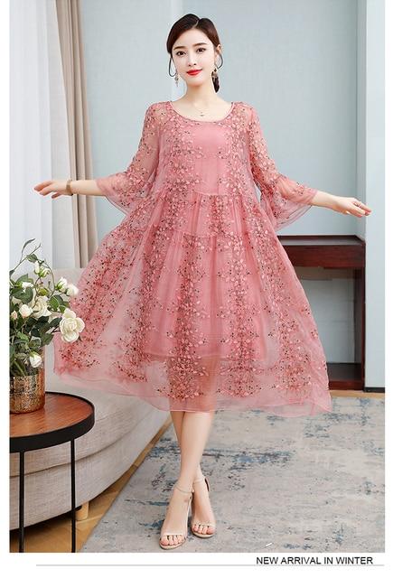 ZUOMAN New Spring Plus Size 4xl Dress Summer Female Silk Dress Female Embroidery Long Vestidos Robes Plus 1