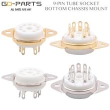 Bottom Chassis Mount 9pin Ceramic tube sockets Valve Tube Base for 6DJ8 12AX7 ECC83 B339 CV492 6L13 12AU7 12AT7 Hifi Audio DIY