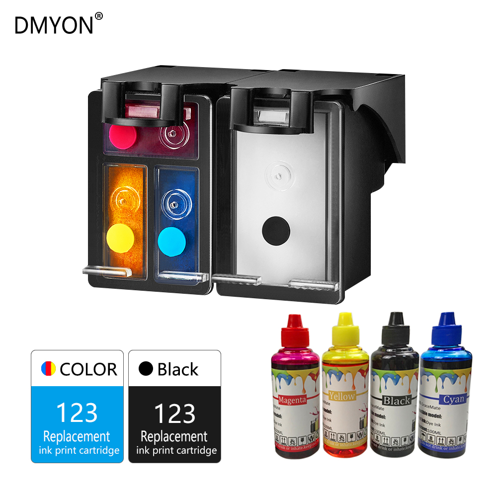 DMYON Refillable Ink Cartridge Replacement for <font><b>HP</b></font> 123 123XL for Deskjet 1110 2130 2132 2133 2134 3630 3632 3637 3638 <font><b>3639</b></font> image