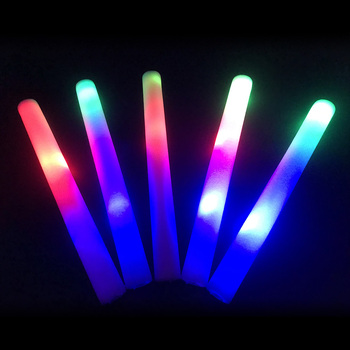 Glow Sticks 100pcs LED Party Light Stick with 3 Battery 3 Flashing Light Up Foam Stick for Wedding Birthday Glow Party Supplies