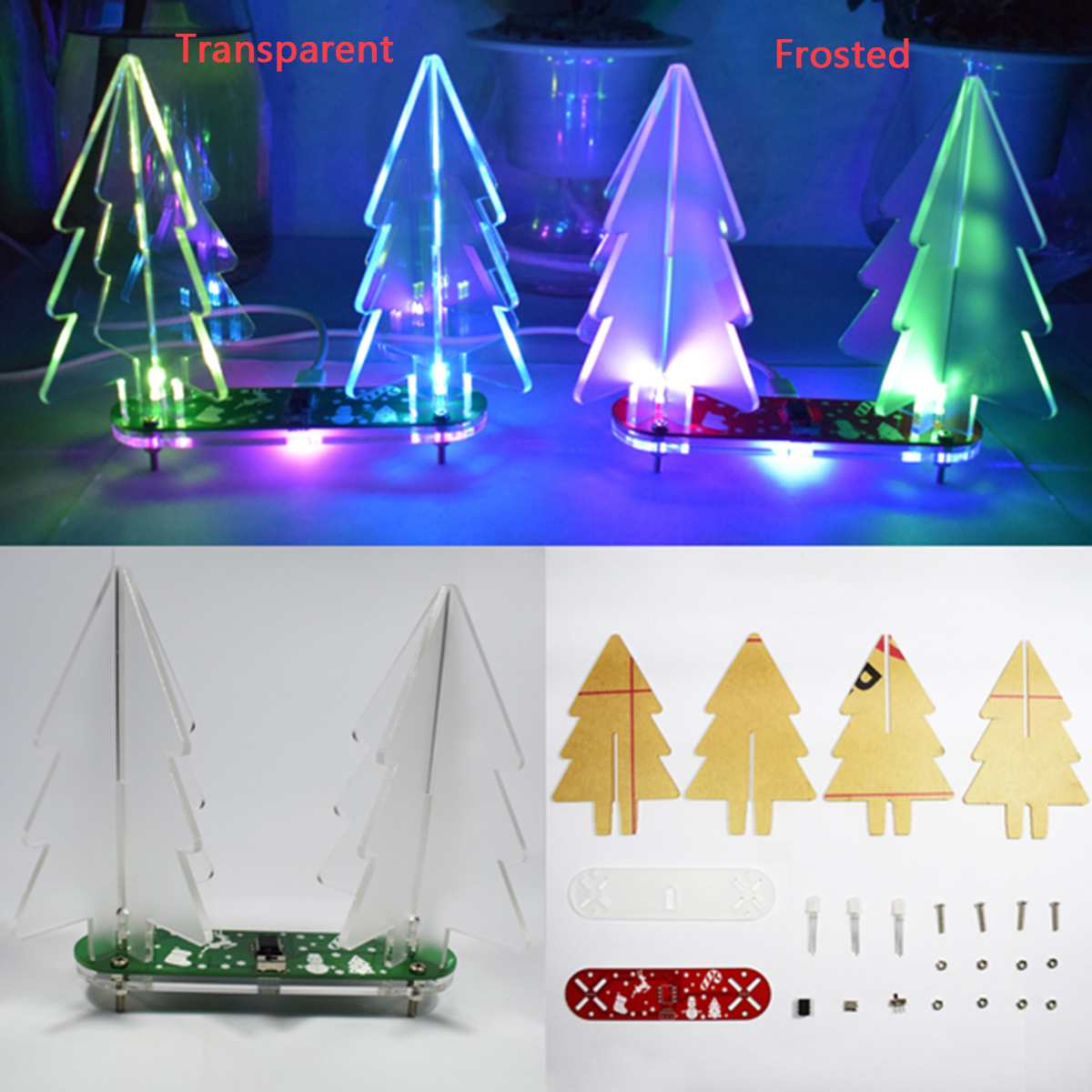 DIY Full Color Changing 3D LED Acrylic Christmas Tree Electronic Learning Kit Module for Christmas Tree Decorations DIY Crafts image