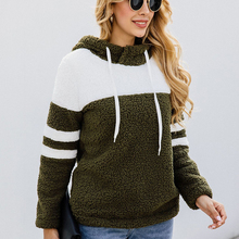 Liva girl  Casual Women Faux Fur Hoody Pullover Autumn Winter Warm Sweatshirt Patchwork Color Long Sleeve Hooded Hoodies