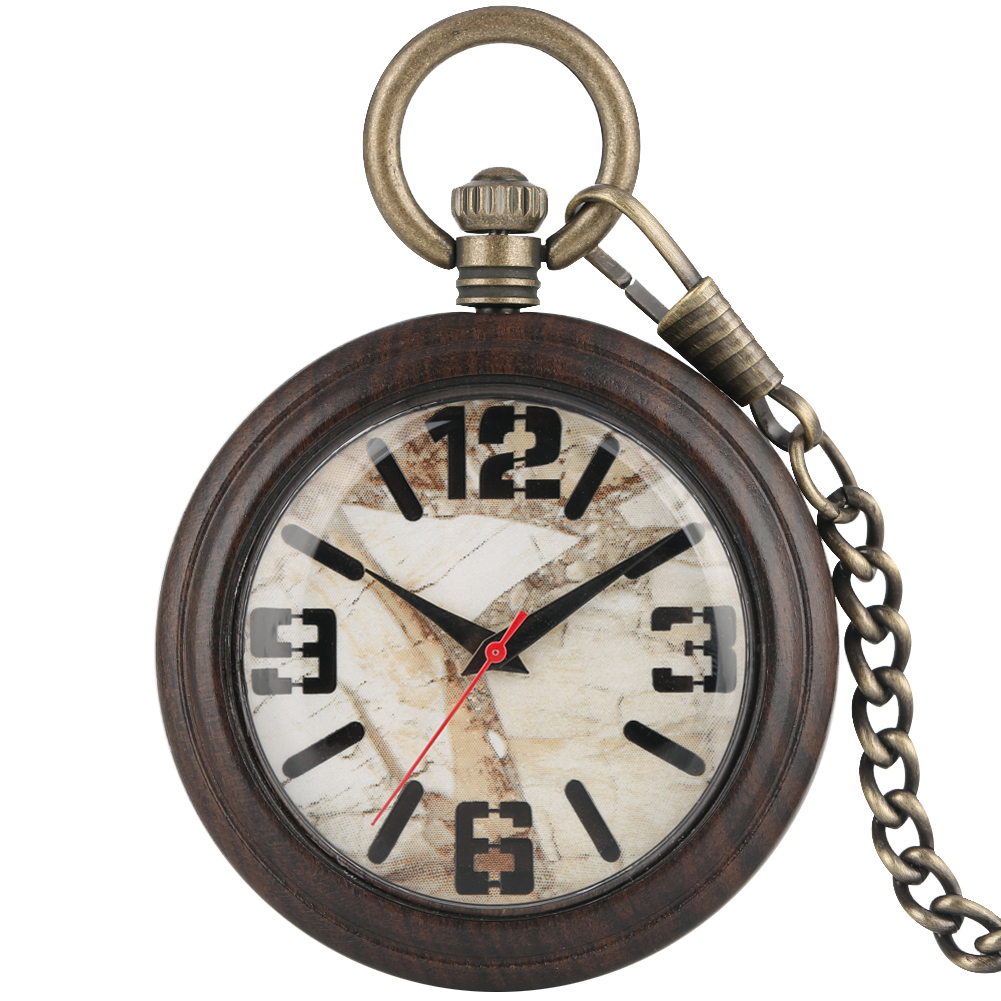 Great Ebony Case Pocket Watch Female Male Clock Marble Surface Dial Necklace Bronze Rough Chain Pendant Watches Gift Zakhorloge
