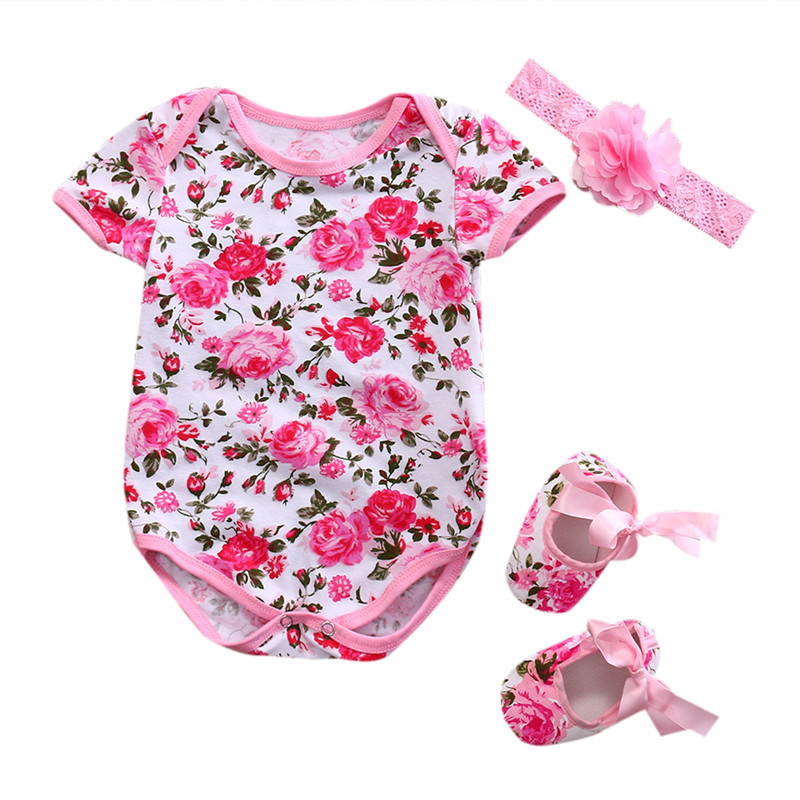 Summer Newborn Baby Girl Clothes Floral Leopard Romper Short Sleeve Jumpsuit+Shoe+Hairband 3Pcs Outfits Set