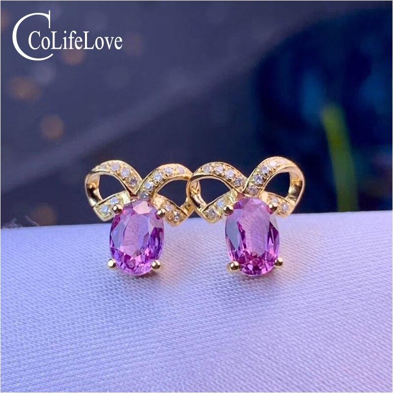 CoLife bijoux 18KRose or saphir boucles d'oreilles 4*6mm naturel violet saphir boucles d'oreilles pour mariage or Rose saphir bijoux