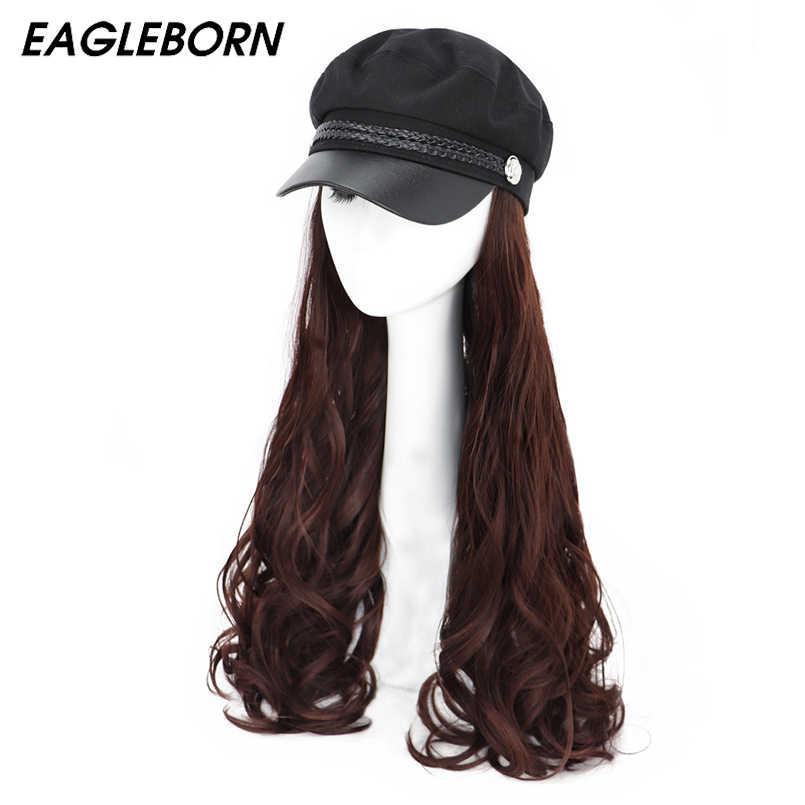 Новинка 2020 Женская темно синяя шапка волнистая военная парик черная Кадетская