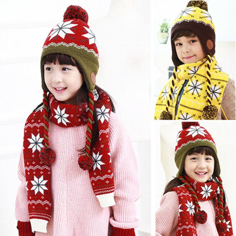 2PCS Set Boys Girls Hat And Scarf Kids Warm Winter Beanie Pom With Earmuffs Snowflake Set Fashion Knitted 4-12 Years