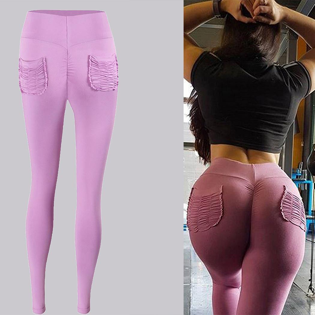 Women Sexy Ruched Butt Lift Push Up Leggings Thights High Waist Sport Skinny Pocket Pants