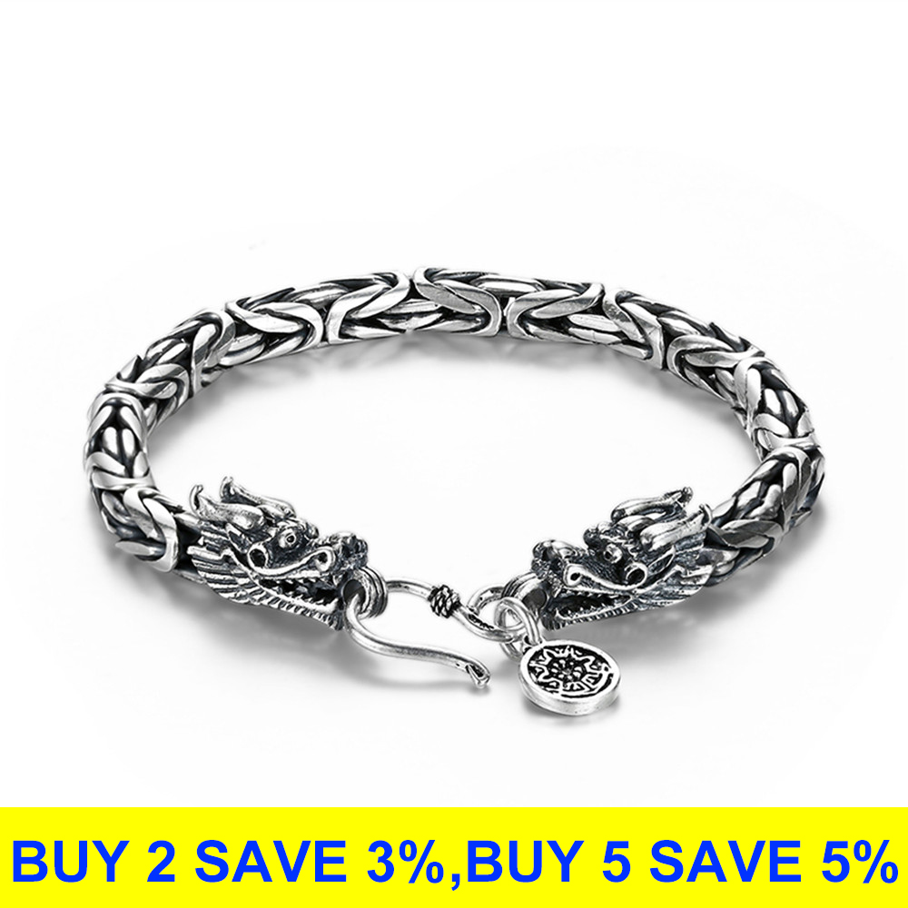 Image 2 - V.YA Real 925 Sterling Silver Dragon Bracelet for Men Male Vintage Heavy Bangles Bracelets Homme Silver Jewelry-in Chain & Link Bracelets from Jewelry & Accessories