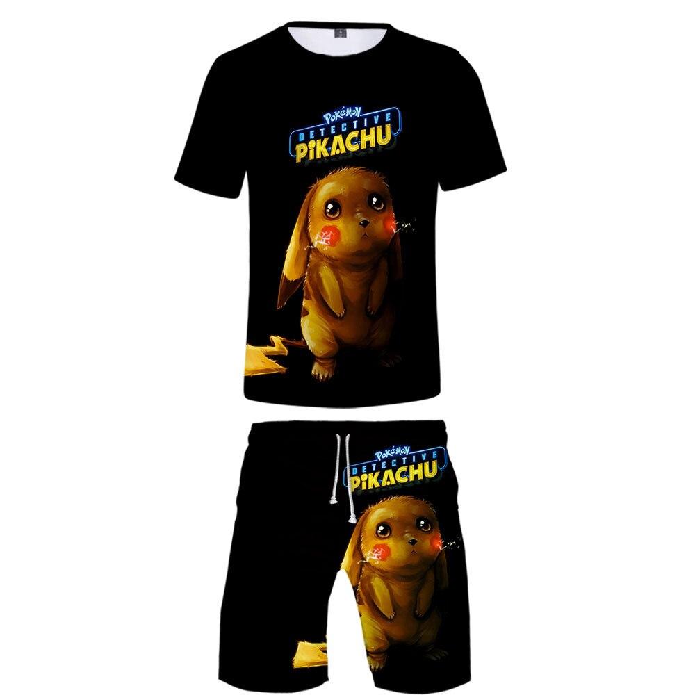 Hot Sales 2019 New Style Great Watch Anime Detective Pikachu 3D Yin Hua Kuan Casual Short Sleeve Set