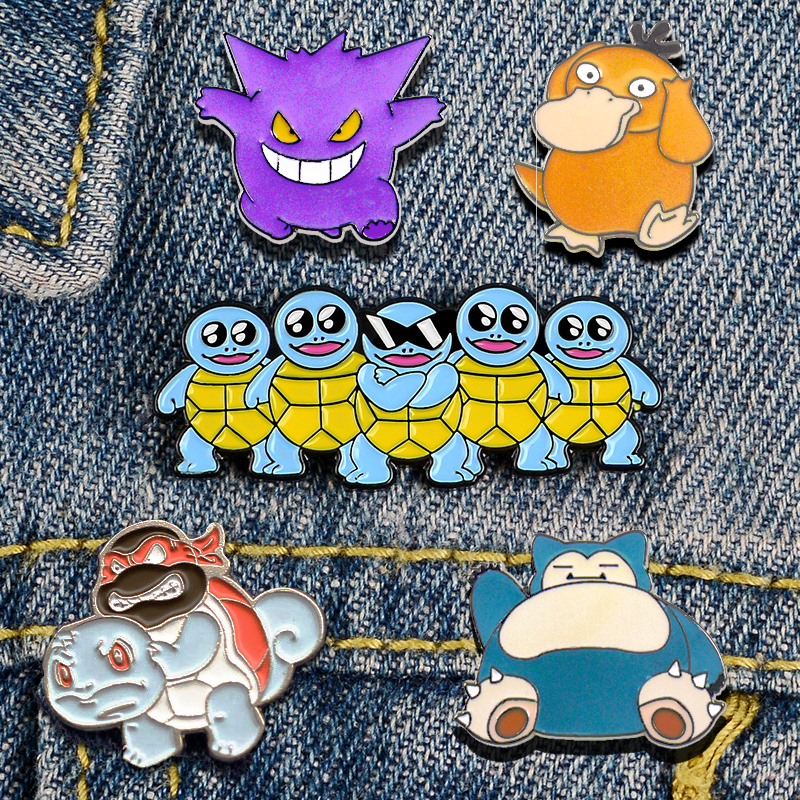 Pokemon Go Squirtle Brooch Game Pins Cosplay Badge Prop Psyduck Snorlax Alloy Men Woman