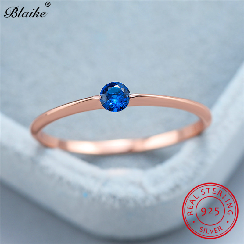 Minimalist S925 Sterling Silver Ring With Stone Blue Red Black Zircon Thin Rings For Women Wedding Bands Rose Gold Ring Jewelry