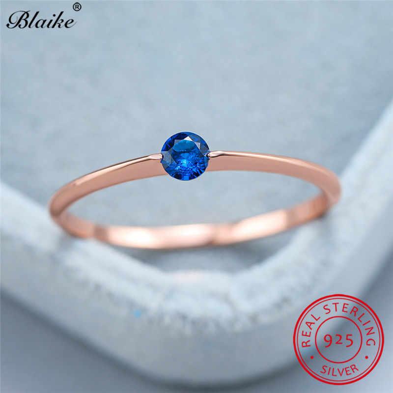 מינימליסטי s925 סטרלינג כסף טבעת עם אבן כחול אדום שחור זירקון דק חתונת נשים להקות עלה זהב טבעת תכשיטים