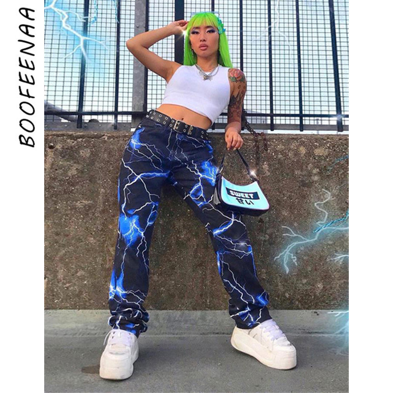 BOOFEENAA Streetwear Lightning Printed Wide Leg Pants Womens Bottoms 2019 Autumn Winter High Waisted Casual Trousers C87-AF09