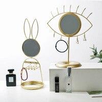 Скандинавское многофункциональное портативное настольное зеркало с рисунком глаз Съемный туалетный столик для ванной комнаты креативный ...
