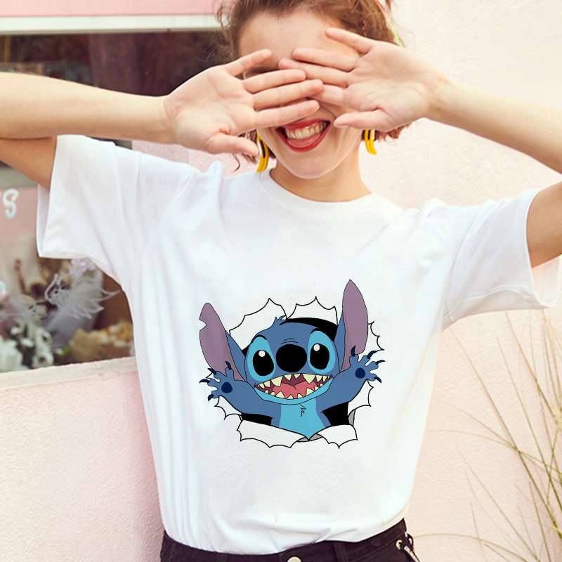 Showtly  Lilo Stitch Harajuku Kawaii T Shirts Women's Fashion T-Shirt Lovely Cartoon Female Printed Casual T Shirt Cute Kawaii