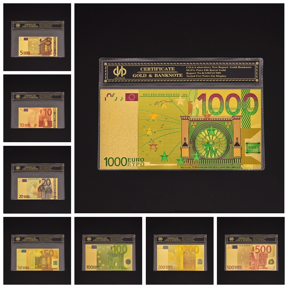 8PCS/Set <font><b>Euro</b></font> <font><b>Fake</b></font> <font><b>Banknote</b></font> Sets 5 10 20 <font><b>50</b></font> 100 200 500.1000 Color Gold <font><b>Banknote</b></font> With Plastic Sleeve image