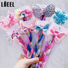 New Children Cartoon Unicorn Wig Hair Band Kids Twist Braid Elastic Rubber Band Hairband Girls Princess Headbands Hair Accessory(China)
