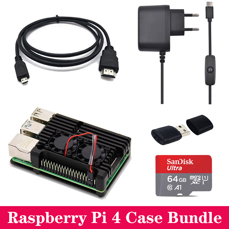 Raspberry Pi 4 Model B Case Aluminum Case Box With Dual Fan Enclosure Cooling Plate Power Supply Adapter Mini HDMI To HDMI Cable