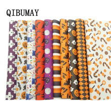 QIBUMAY Halloween Faux leather Fabric Printed Leather DIY Hair bow Handmade Bags Material 22*30cm Synthetic