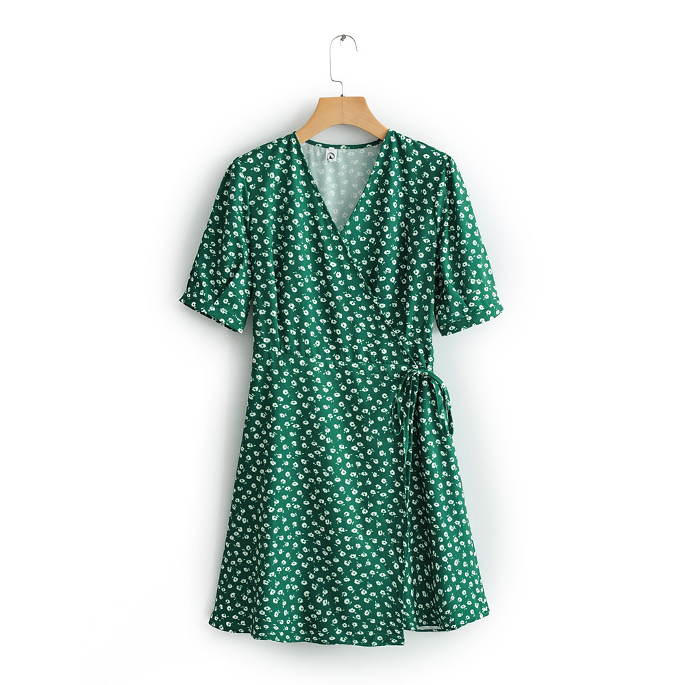 2019 Western Style Spring And Summer WOMEN'S Dress New Style Green Shivering French Wrap Dress Solid Short Skirt