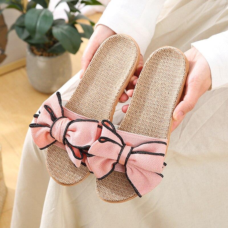 Women Flax Home Slippers Summer Bow-knot Soft Floor Woman Indoor Slides Flats House Shoes Cute Linen Slipper