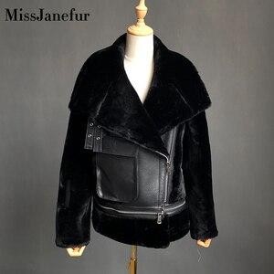 Image 2 - Darmowa wysyłka kobiety moda kurtka z prawdziwej skóry zimowe ciepłe futro kożuch wełniane kurtki plus rozmiar wełna z owcy strzyżonej