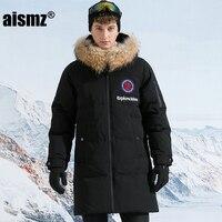 Aismz Russia Canada Winter 90% White Goose Long Down Jacket Parkas Men Raccoon Fur Hooded Windproof Waterproof Coat Man Overcoat