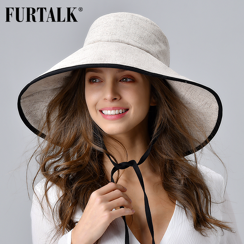 FURTALK Women Summer Beach Hat Cotton Sun Hat Female Bucket Hat With Wide Fold-Up Brim Korean UV Protection UPF 50+ Sun Cap 2020