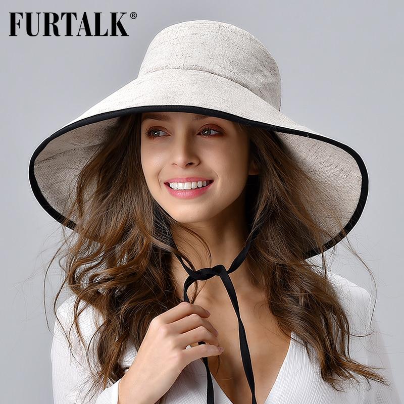 FURTALK Women Summer Beach Hat Cotton Sun Hat Female Bucket Hat With Wide Fold-Up Brim Korean UV Protection UPF 50+ Sun Cap 2020