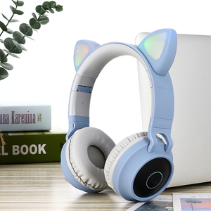 Image 2 - Dosmix LED ucho kota słuchawki z redukcją szumów zestaw słuchawkowy Bluetooth 5.0 dla dzieci obsługa karty TF 3.5mm wtyczka z mikrofonem