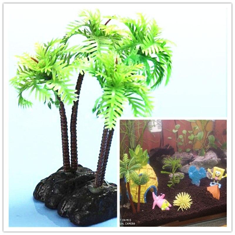Aquarium SpongeBob Decoration Plastic Coconut Palm Trees