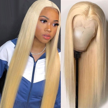 Blonde 613 Lace Front Wig Peruvian Straight Lace Front Human Hair Wigs 8-28 Inch Remy 150% HD Transparent Lace Frontal Wigs Wigs image