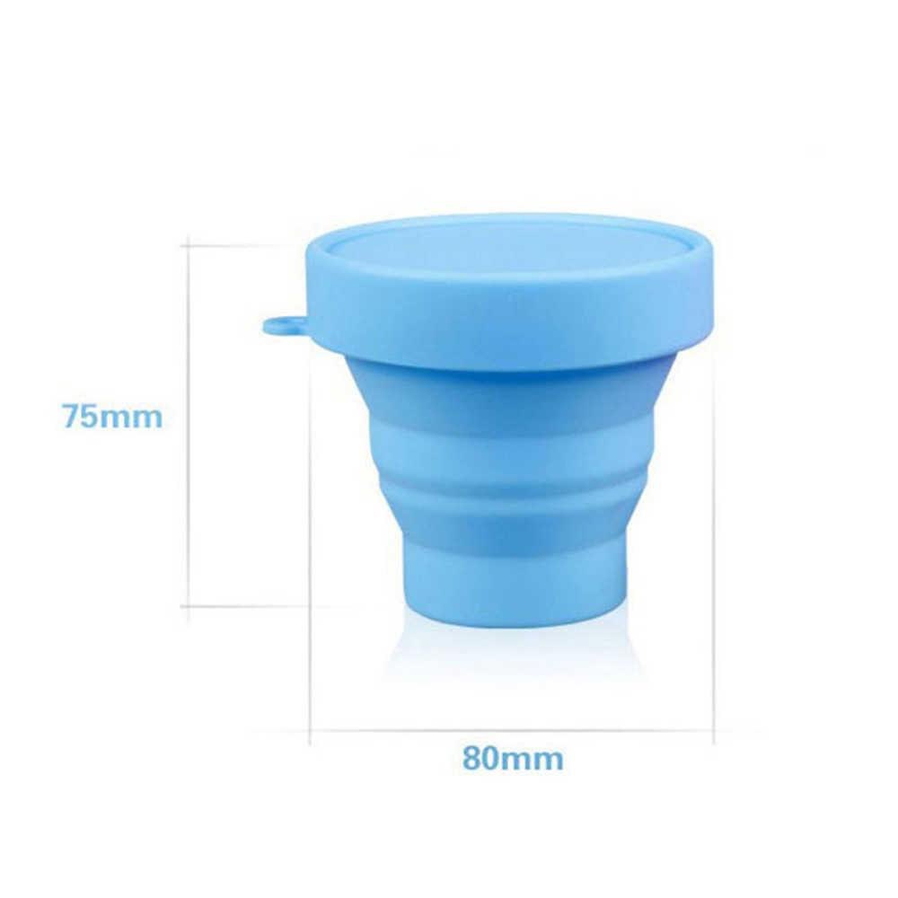 Portable Koffie Cup Effen Kleur Water Vouwen Gorgelen Cup Voor Outdoor Reizen Siliconen Thee Kopjes Met Deksel Reizen Drinkware