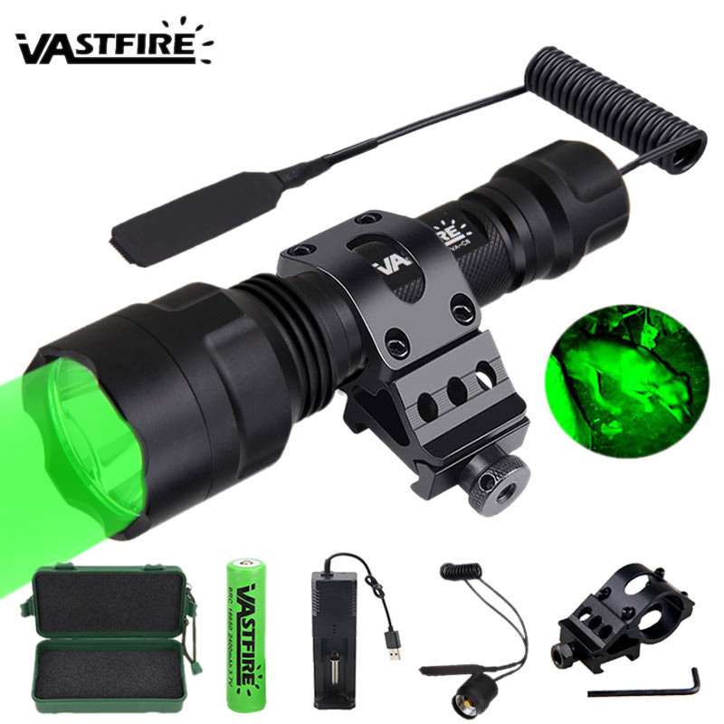 VASTFIRE 5000LM C8 LED Hunting Flashlight Tactical Rifle Weapon Gun Light+Remote Switch+Rail Barrel Mount+18650+Charger+Box|Weapon Lights| - AliExpress