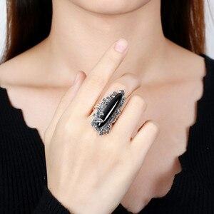 Нестандартные длинные кольца с драгоценными камнями для женщин, цветные кольца с халцедоном, винтажное Тайское Серебро 925 пробы, Преувеличе...