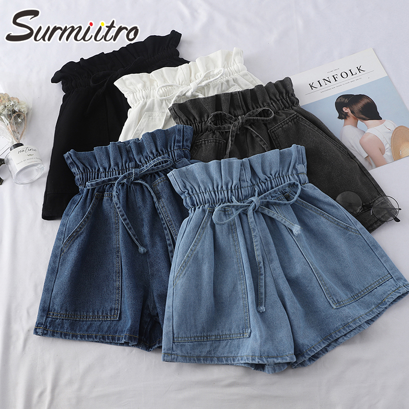 SURMIITRO Korean Wide Leg Denim Shorts Women 2020 Spring Summer Black White Blue Short Pants Femme High Waist Shorts Female