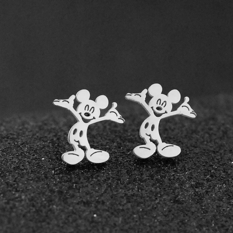 FENGLI Cute Mickey Stainless Steel Stud Earrings For Women Black Silver Color Children Romantic Mouse Earring Studs Jewelry Gift