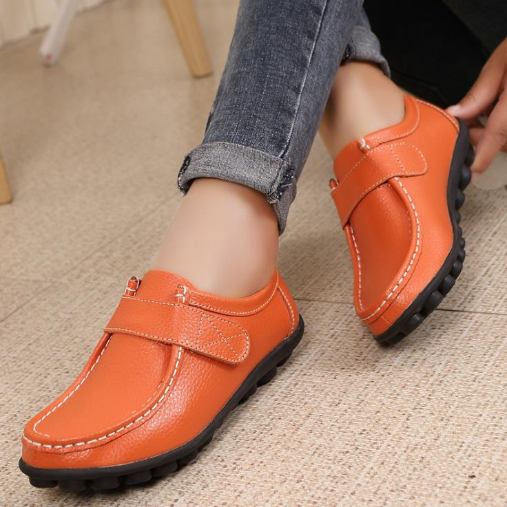 women's casual shoes 2019 leather Comfortable Non-slip flats   1801