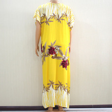 African Dresses for Women 2021 Summer Fashion African Women O-neck Cotton Plus Size Long Dress African Clothes for Women