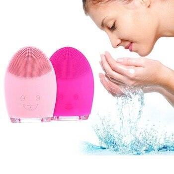 Limpiador facial eléctrico de silicona, dispositivo de limpieza Facial, cepillo de masaje,...