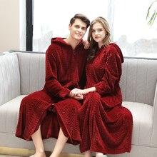 Flannel Bathrobe Hoodies Sleepwear Solid Red Men Lovers