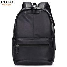 VICUNA بولو العلامة التجارية الشهيرة نمط Preppy حقيبة ظهر مدرسية من الجلد حقيبة للكلية تصميم بسيط الرجال عادية daypack mochila الذكور جديد